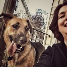 Ziva and Sue sit on the back porch